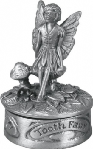 Pewter Fairy Sitting First Tooth Christening Gift